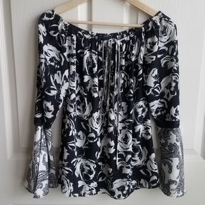 White House Black Market Floral Blouse Top Size XS